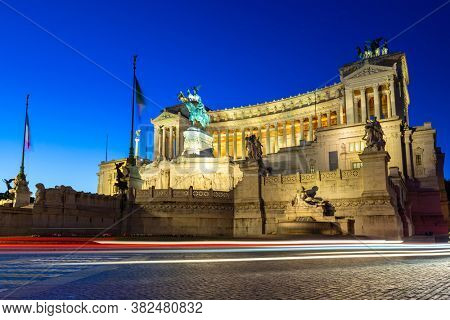 Rome, Italy - January 11, 2019: Architecture of the Vittorio Emanuele II Monument in Rome at night, Italy