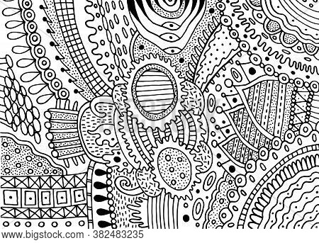 Boho Doodle Pattern For Coloring Book For Adults. Coloring Page With Floral Motifs. Psychedelic Text