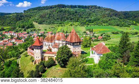 Alma Vii, Sibiu. Village And Fortified Church Saxon Landmark From Transylvania, Romania.
