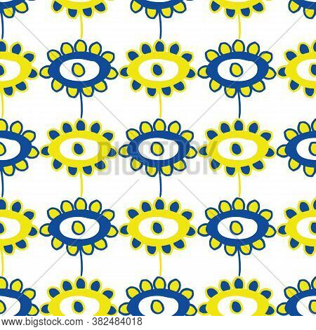 Vector Childlike Drawing Of Flowers Seamless Pattern Background. Simple Yellow, Cobalt Blue Painterl