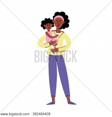 Sad African American Young Woman Standing With Little Daughter