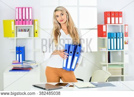 Business Woman Work In Office With Documents. Female Career. Organized Office Work. Female Business.