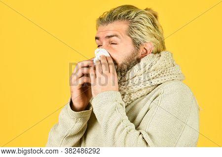Immune Response. Bearded Man Sick. Cold Flu. First Symptom. Headache Virus Symptom. Health Care And