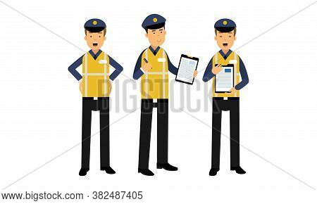 Traffic Policeman Wearing Yellow Vest Writing Out Fines Vector Illustration Set