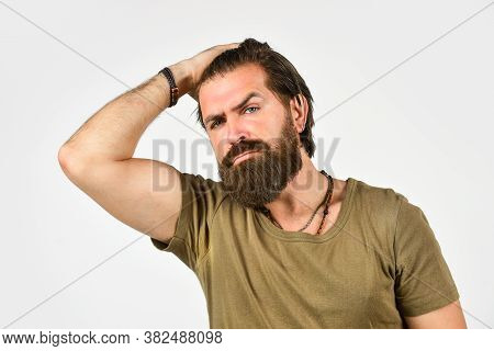 Brutal Bearded Hipster. Handsome Man. Barbershop Salon. Care For Male Skin. For Oily Skin Suffering