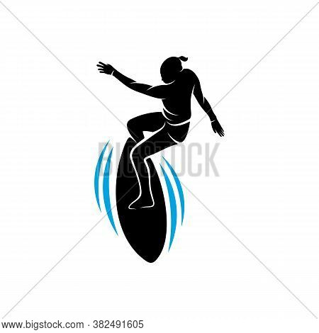 Surfing With Water Wave Logo Vector Template, Illustration Symbol, Silhouette Design
