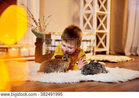 Little Boy With Rabbits. Young Boy Lying On A White Furry Carpet With Two Grey Rabbits. Children And