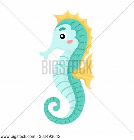 Cute Funny Seahorse Print On White Background. Ocean Cartoon Animal Character For Design Of Album, S