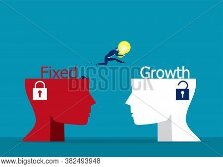 Businessman Holding Light Bulb Jumping To Growth Mindset Head Different Fixed Mindset Concept