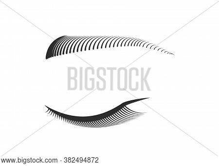 Closed Eye With Black Long False Eyelashes And Eyebrows. Woman Makeup. Editable Line. Vector Illustr