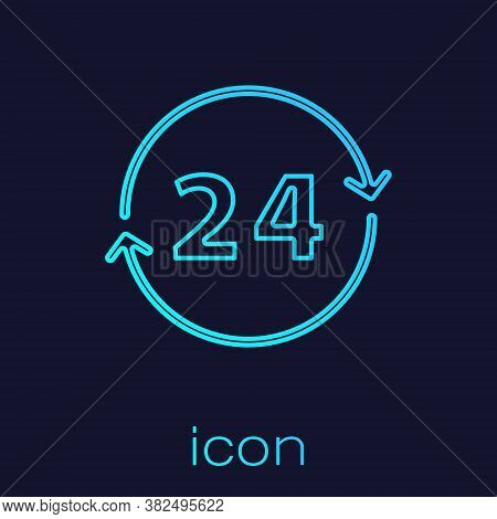 Turquoise Line Clock 24 Hours Icon Isolated On Blue Background. All Day Cyclic Icon. 24 Hours Servic