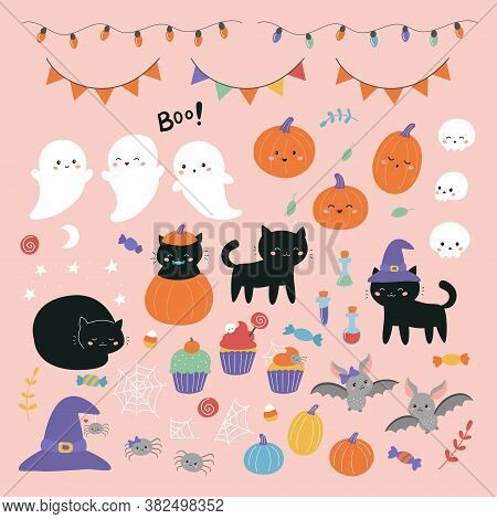 Halloween Clipart Set With Cartoon Characters: Ghosts, Cats, Skulls, Pumpkins, Spiders And Bats. Han