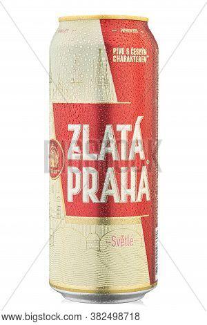 Ukraine, Kyiv - June 22. 2020: Aluminium Can Beer Zlata Praha, On White Background. Insulated Packag