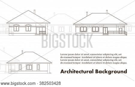 Architectural Background With Facades Of Houses. The Drawing Of The Cottages. Isolated On White Back