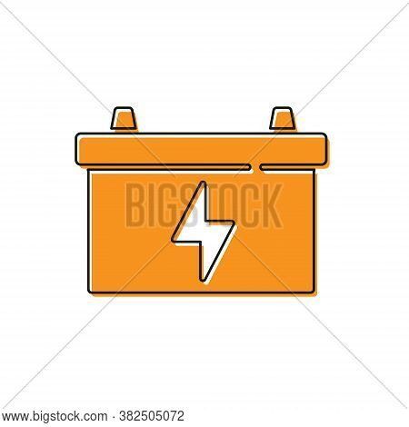 Orange Car Battery Icon Isolated On White Background. Accumulator Battery Energy Power And Electrici