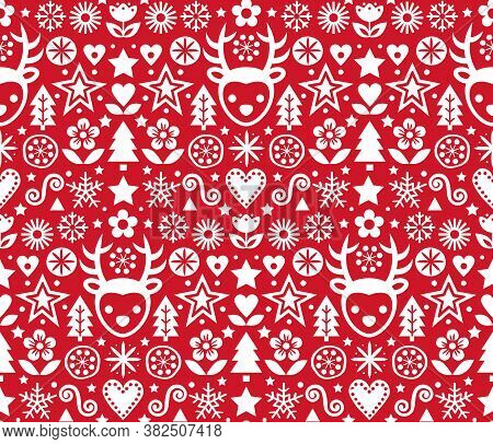Christmas Cute Scandinavian Folk Art Vector Red Seamless Pattern, Repetitive Design With Reindeer, F