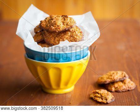 Pumpkin Oatmeal Spice Cookies on bowl