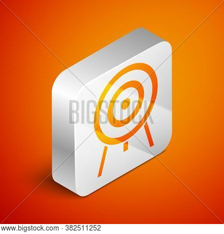 Isometric Target Icon Isolated On Orange Background. Dart Board Sign. Archery Board Icon. Dartboard
