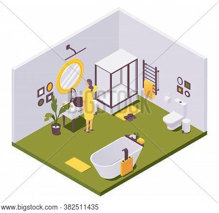 Vector Isometric Girl Brushing Teeth In Bathroom With A Shower, Heated Towel Rail, Toilet, Bathtub,