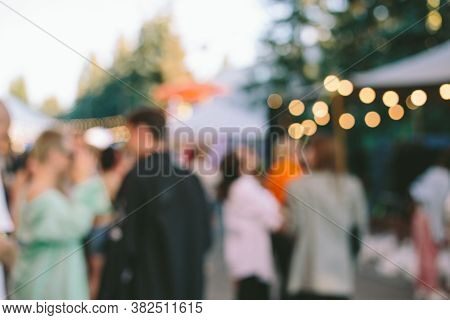 Blur Defocused Background Of People In Park Fair, Summer Festival, Family Outdoors, Festive Fair
