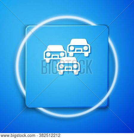 White Traffic Jam On The Road Icon Isolated On Blue Background. Road Transport. Blue Square Button.