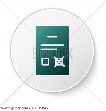 Green Poll Document Icon Isolated On White Background. White Circle Button. Vector
