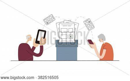Seniors Vote Online Using Smartphones. Online Voting. Elderly People Vote Remotely Using Their Smart