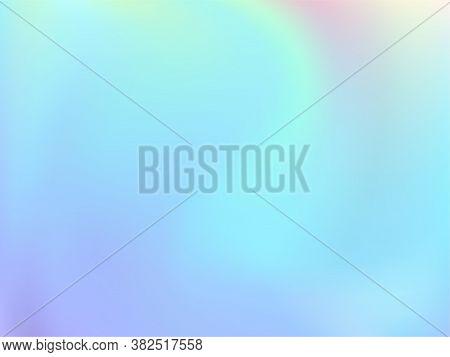 Holographic Gradient Neon Vector Illustration. Fluorescent Pastel Rainbow Unicorn Background. Liquid