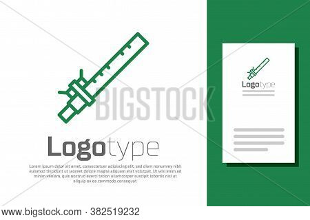 Green Line Bamboo Flute Indian Musical Instrument Icon Isolated On White Background. Logo Design Tem