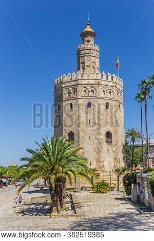 Sevilla, Spain - May 14, 2019: Torre Del Oro Tower In The Historic Center Of Sevilla, Spain
