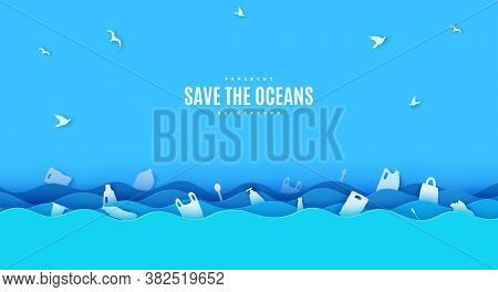 Stop Ocean Plastic Pollution Banner Design Template In Paper Cut Style. Papercut 3d Background With