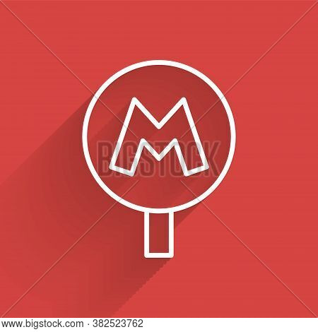 White Line Metro Or Underground Or Subway Icon Isolated With Long Shadow. Vector