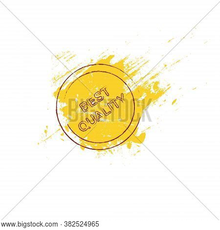 Best Quality Banner. Stamp On A Yellow Smear Of Paint Background Grunge Art Design Element Stock Vec