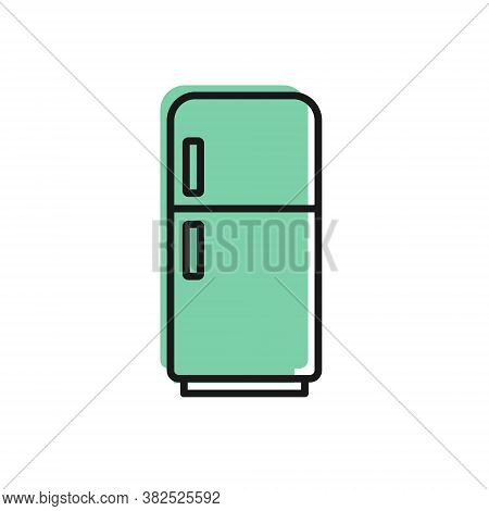 Black Line Refrigerator Icon Isolated On White Background. Fridge Freezer Refrigerator. Household Te