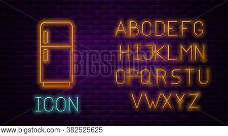 Glowing Neon Line Refrigerator Icon Isolated On Brick Wall Background. Fridge Freezer Refrigerator.