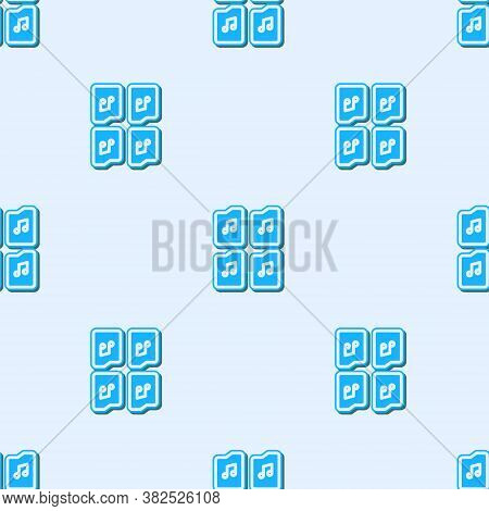 Blue Line Music File Document Icon Isolated Seamless Pattern On Grey Background. Waveform Audio File