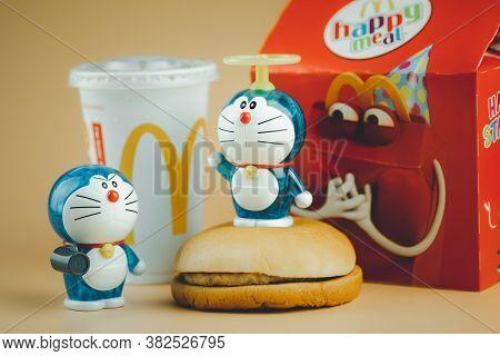 Samut Prakan, Thailand - August 26, 2020 : Happy Meal 50th Years Of Doraemon. Doraemon Character. Pr