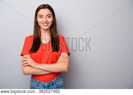 Portrait Of Her She Nice Attractive Lovely Cute Winsome Cheerful Cheery Straight-haired Girl Folded