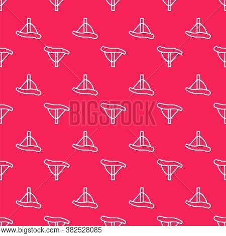 White Line Bicycle Seat Icon Isolated Seamless Pattern On Red Background. Bicycle Saddle. Vector