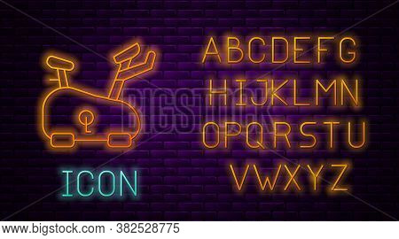 Glowing Neon Line Stationary Bicycle Icon Isolated On Brick Wall Background. Exercise Bike. Neon Lig