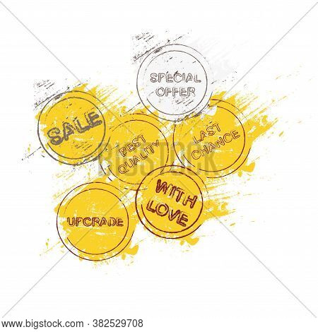 Best Quality, With Love, Special Offear, Sale, Last Chanse,  Banner. Stamp On A Yellow Smear Of Pain