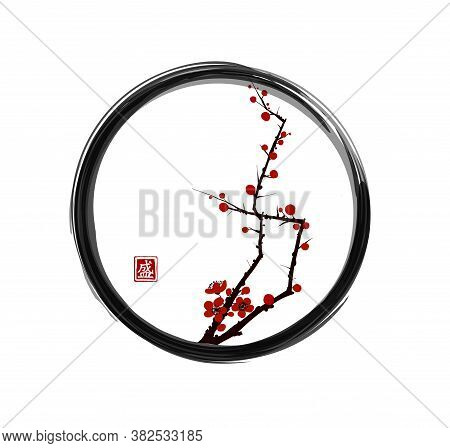 Sakura Cherry Tree Blossom In Enso Zen Circle. Traditional Oriental Ink Painting Sumi-e, U-sin, Go-h