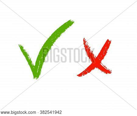 Cross And Right Brush Sign. Isolated Ok And Wrong Icon. Vector Illustration. Hand Draw Grunge Mark