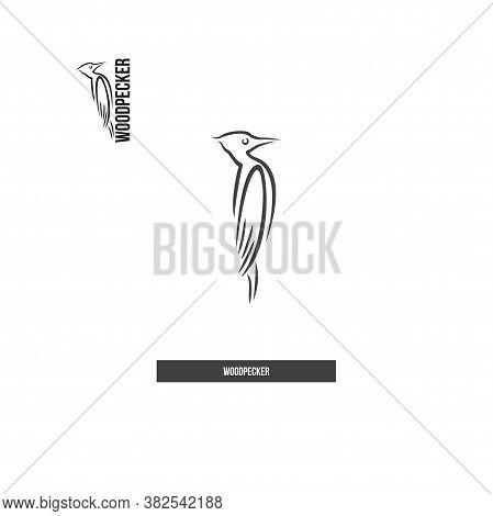 Woodpecker Icon In Brush Strokes Style. Black.