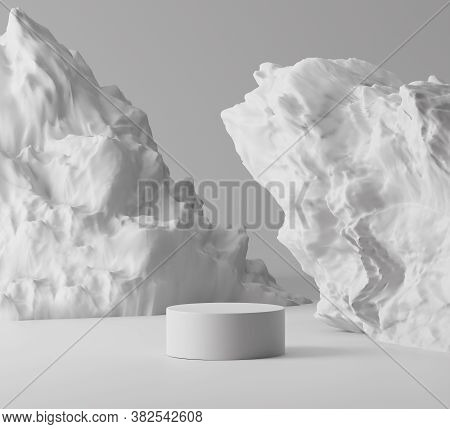 3d White Rock Pedestal Display With Gray Background. Nature Grey Stone Podium For Beauty Cosmetics P