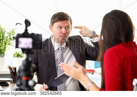Office Workers, Man And Woman Argue In Front Camera. Boss Is Dissatisfied With Organization Work Pro