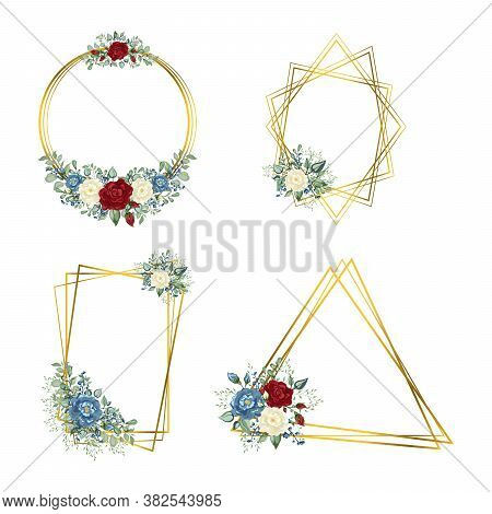 Gold Frames Set With Flowers. Geometric Crystal Stone Polyhedron.
