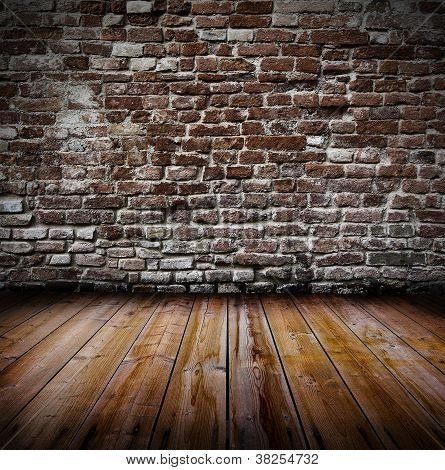 poster of Grunge old interior with brick wall and wooden floor