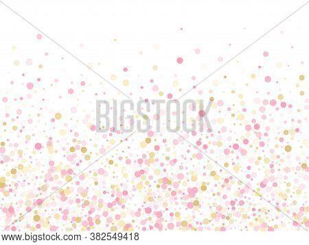 Rose Gold Confetti Circle Decoration For Wedding Invitation Card. Holiday Vector Illustration. Gold,