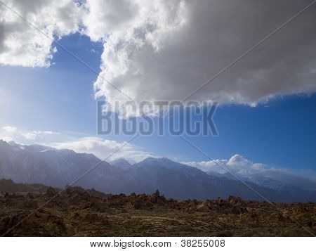 cloudy sky and rough terrain